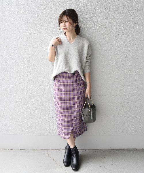 [SHIPS for women] Khaju:チェックスリットスカート
