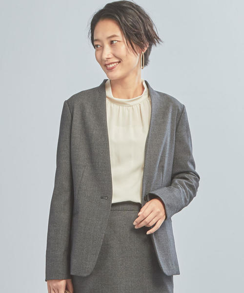 [green label relaxing] 【WORK TRIP OUTFITS】D T/W バーズアイ ノーカラージャケット