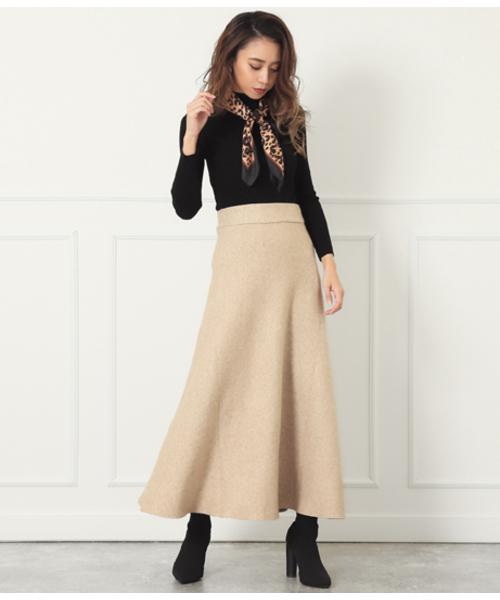 [CHILLE] ニットフレアロングスカート
