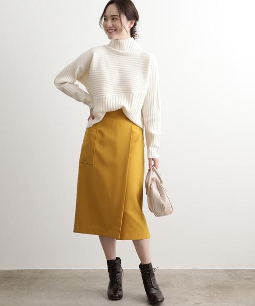 [ViS] 【EASY CARE】ウォッシャブルフラノラップタイトスカート