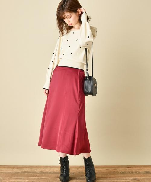 [natural couture] 微光沢サテンゆるマーメイドスカート