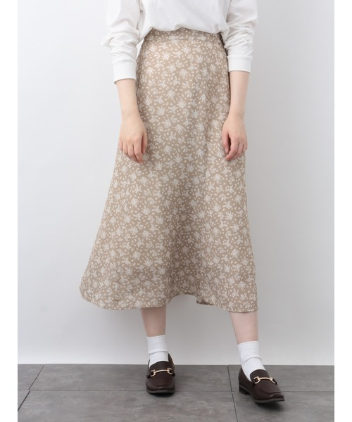 [earth music&ecology] 【広瀬すず×earth】花柄セミAラインスカート