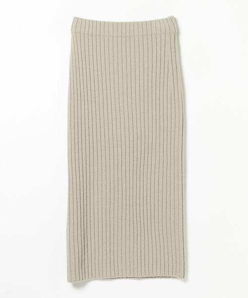 [BEAMS WOMEN] Demi-Luxe BEAMS / ワイドリブ ロングスカート
