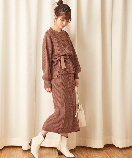 [natural couture] 【WEB限定】ケーブルニットセットアップ
