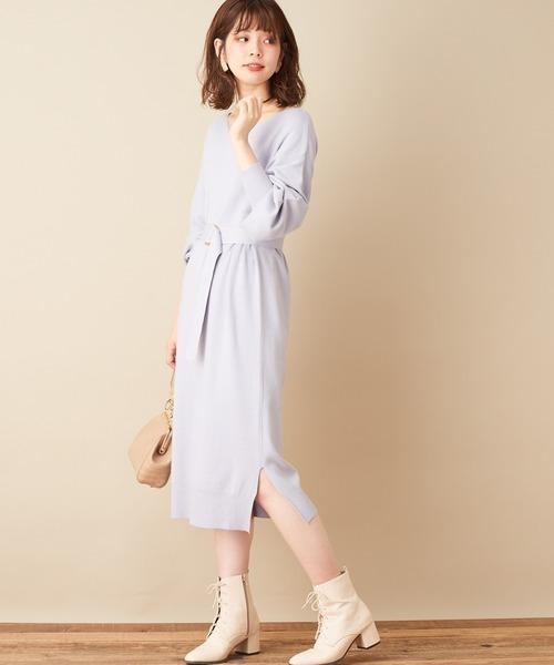 [natural couture] 【WEB限定カラー有り】ベルト2本付きバルーン袖ニットワンピース