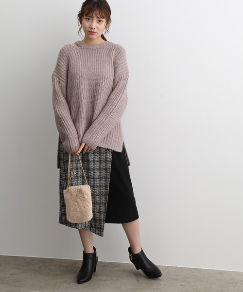 [ViS] 【WEB限定】ツイードチェックラップスカート
