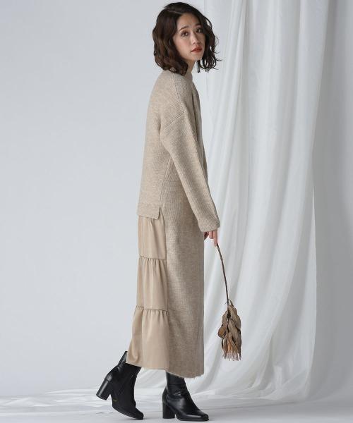 [MAYSON GREY] 【socolla】ティアードスカートドッキングニットワンピース