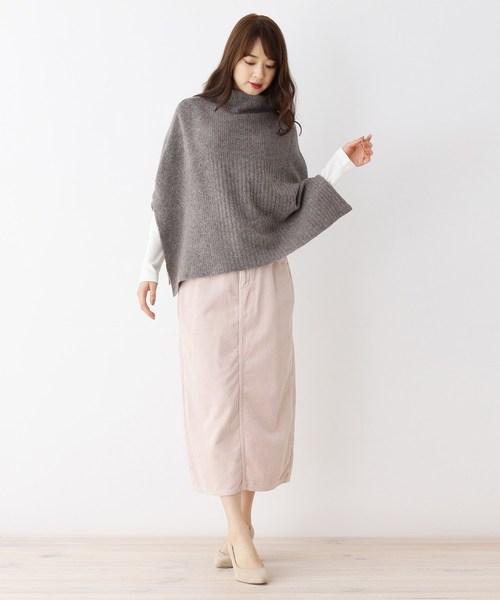 [grove] Lee コーデュロイロングタイトスカート