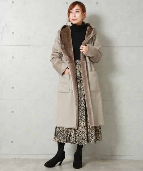 [MARLENE JOBERT] リバーシブルで着れる☆上質な あったかフェイクムートンコート