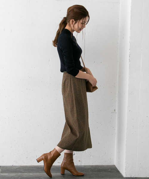 [URBAN RESEARCH ROSSO WOMEN] スエード×レオパードプリントスカート
