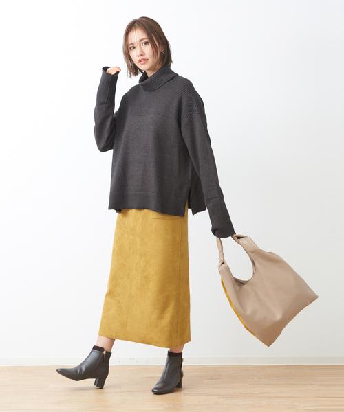 [Abahouse Devinette] スエードタイトロングスカート