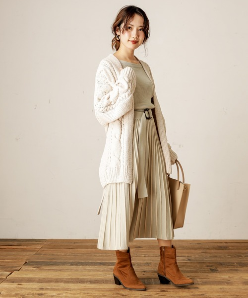 [natural couture] 【WEB限定】配色ニットプリーツワンピース