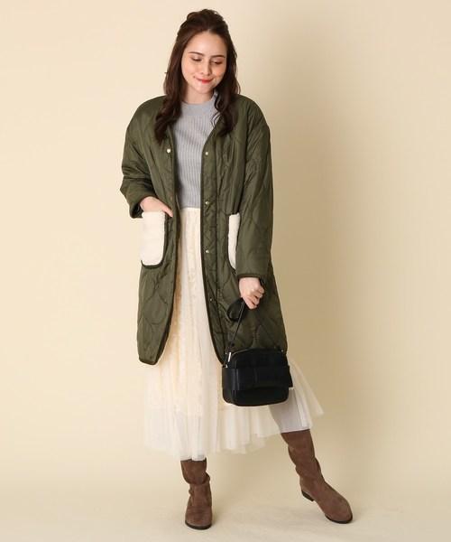 [Couture brooch] ボアポケットキルトコート