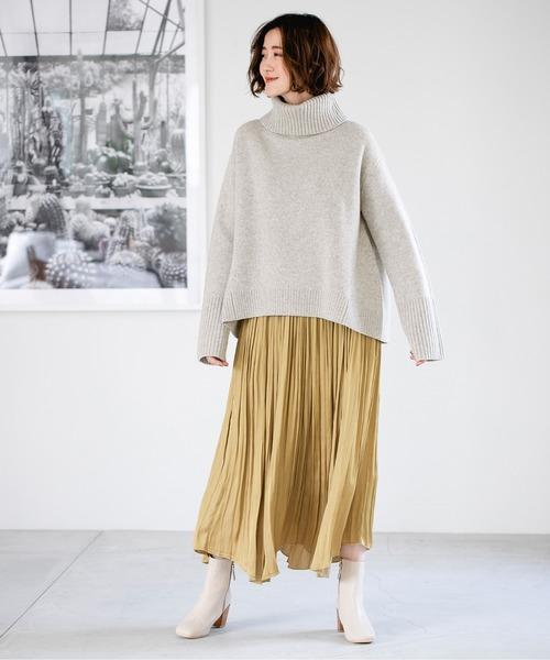 [apart by lowrys] サテンアシメヘムプリーツスカート 862979