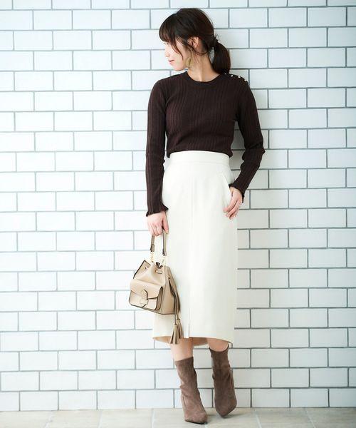 [le.coeur blanc] ウールライクイージータイトスカート