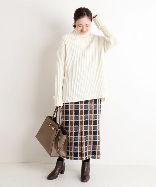 [IENA] 【 CLASSY. Closet×SLOBE 】チェックタイトミモレスカート◆