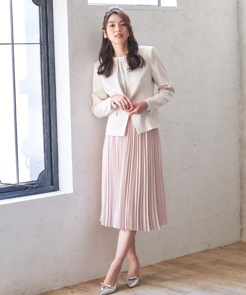 [ANAYI] バックサテンアムンゼンプリーツ スカート