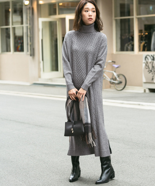 [URBAN RESEARCH ROSSO WOMEN] F by ROSSO ケーブル編みタートルニットワンピース