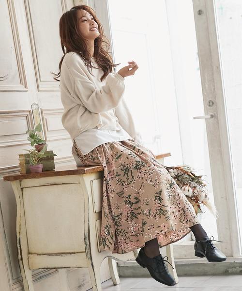 [kobelettuce] サテン花柄パネルロングスカート