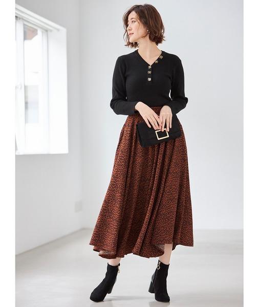 [tocco closet] レオパード柄切替スカート