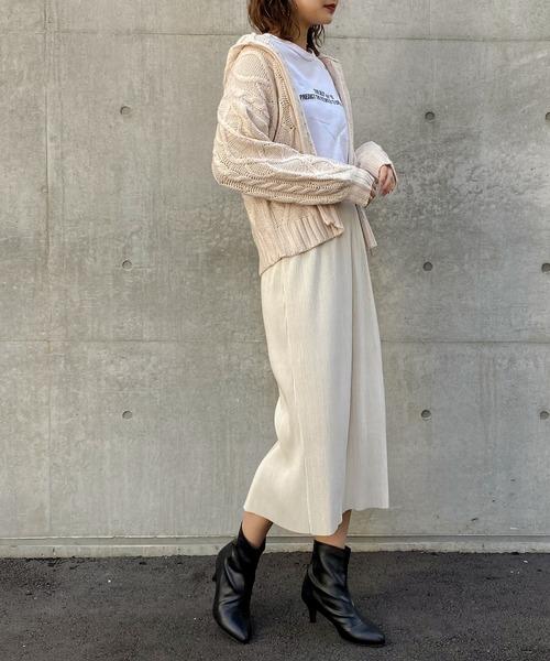 [Fashion Letter] ケーブル編みニットフーディーカーディガン/19AW