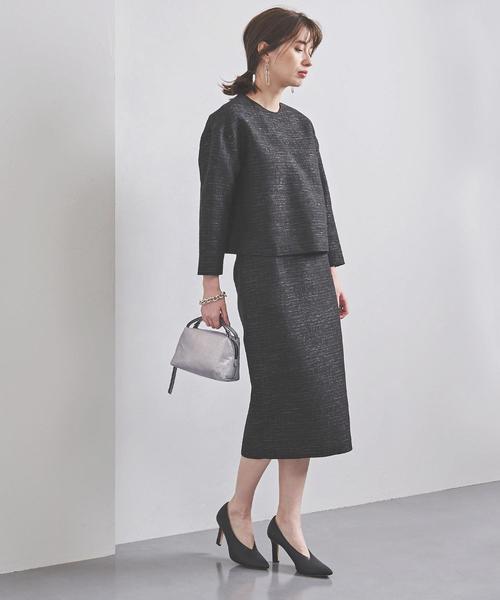 [UNITED ARROWS] UBCS ブライトツイード タイトスカート BLACK