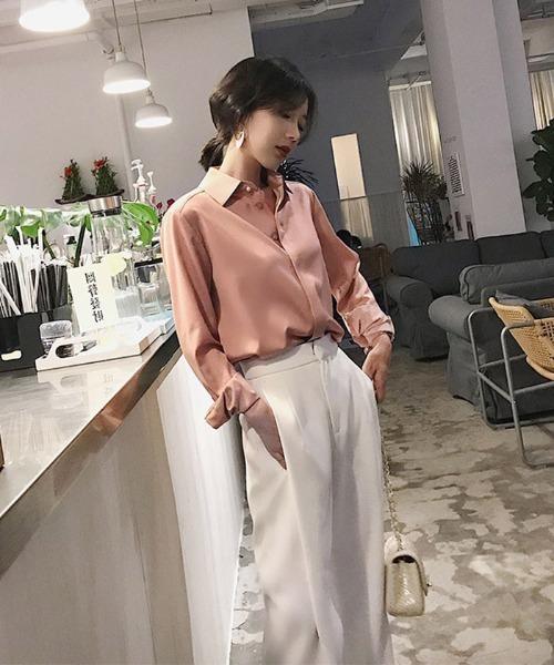 [FRP] シフォンシャツデザインゆったり長袖シャツ