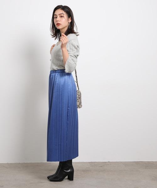 [ROPE'] メタリックアコーディオンプリーツスカート