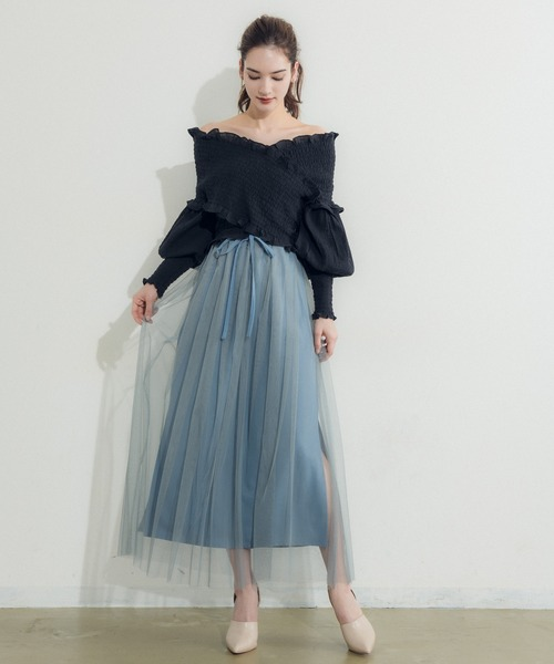 [Auntie Rosa] 【LA BELLE ETUDE】【Belle vintage】タックチュールIラインスカート