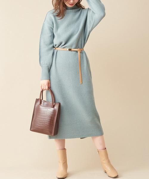 [natural couture] 【WEB限定カラー有り】2WAYハイネックもちもちワンピース