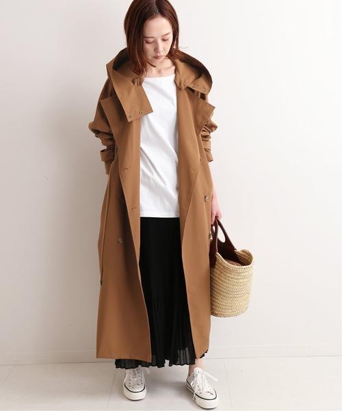 トレンチコート×プリーツスカート
