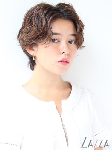センター分け前髪×ショートヘア《パーマ》5