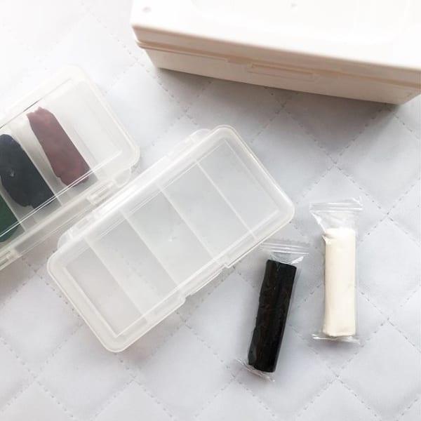 サプリメントケースをプラスして粘土の乾燥防止に2