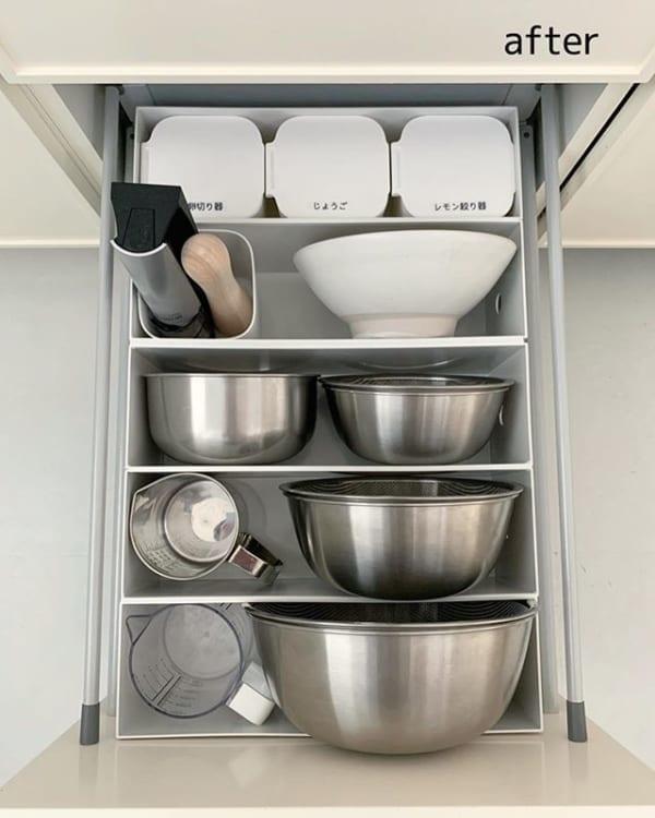 キッチン道具をまとめた収納実例