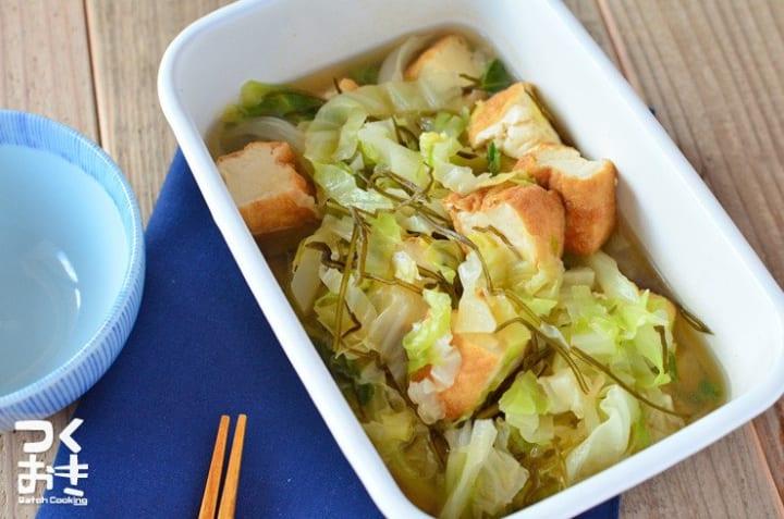 美味しい副菜に!厚揚げとキャベツのさっと煮