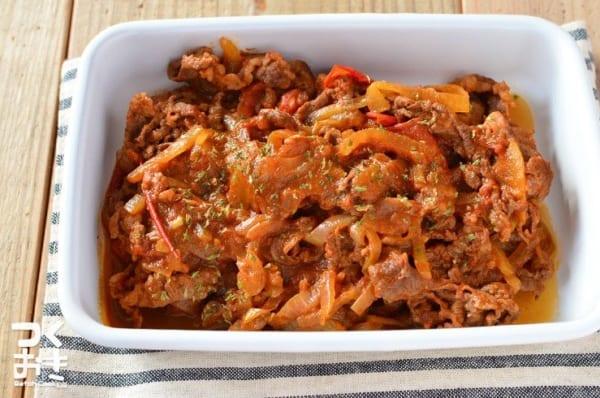 お弁当のおかずに人気!牛肉とトマトの炒め煮