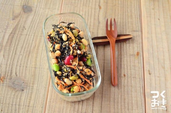 ビビンバの副菜!付け合わせの豆とひじきのサラダ