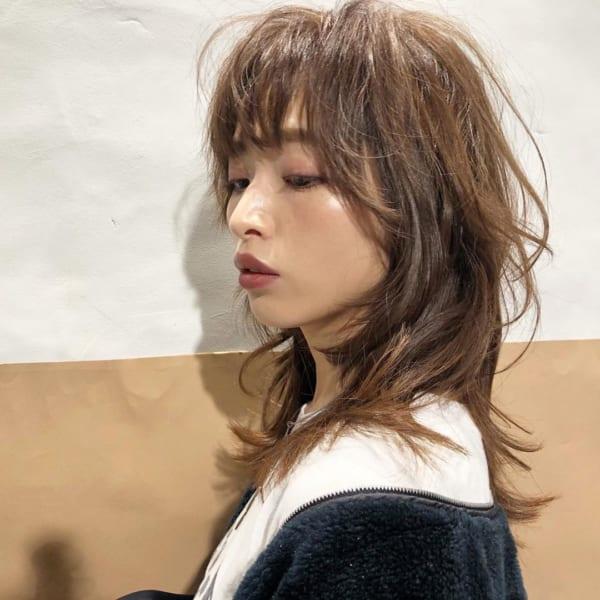 ミディアム×巻き髪×ウルフスタイル