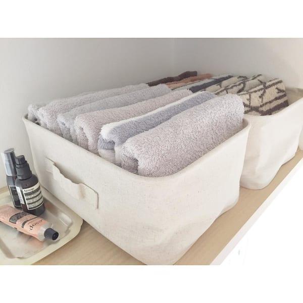 ソフトボックスで洗面所のタオル収納
