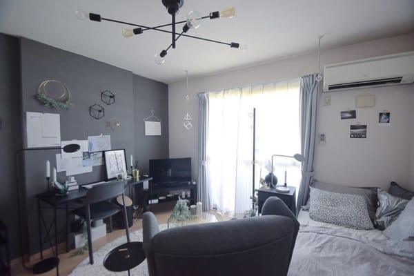 ハイデザインを活かしたグレーな一人暮らしのお部屋