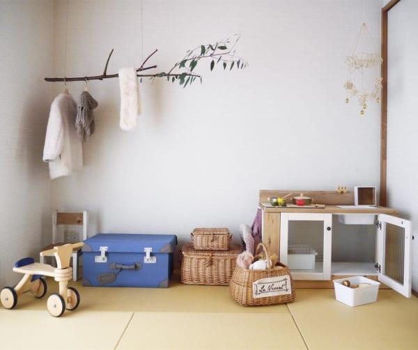 自然素材を使ったナチュラルな和室女の子部屋