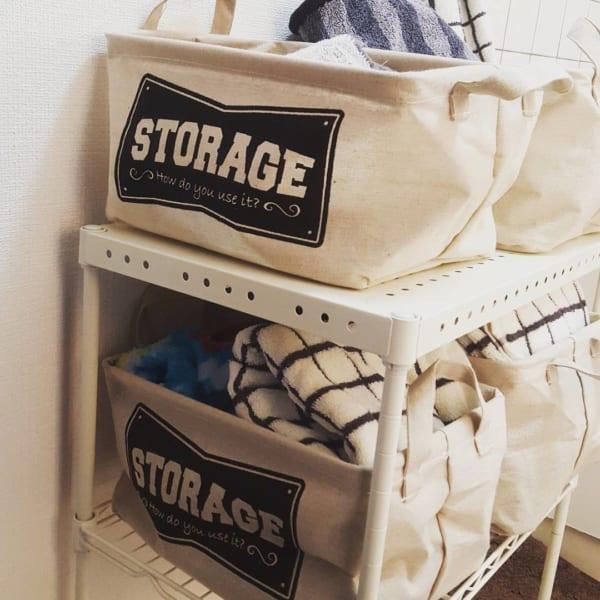 ダイソーのストレージボックスで洗面所のタオル収納