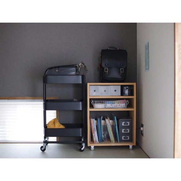 IKEAワゴンを置いた和室子供コーナー