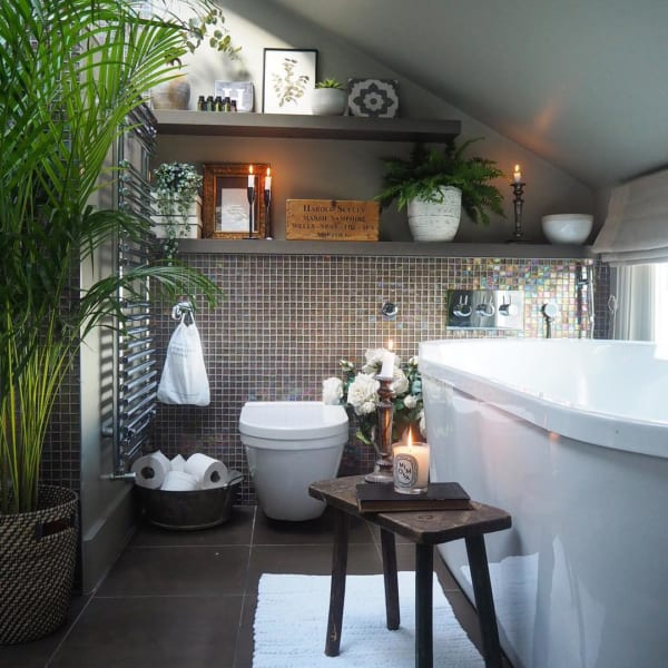 タイル壁がおしゃれな海外バスルームインテリア5