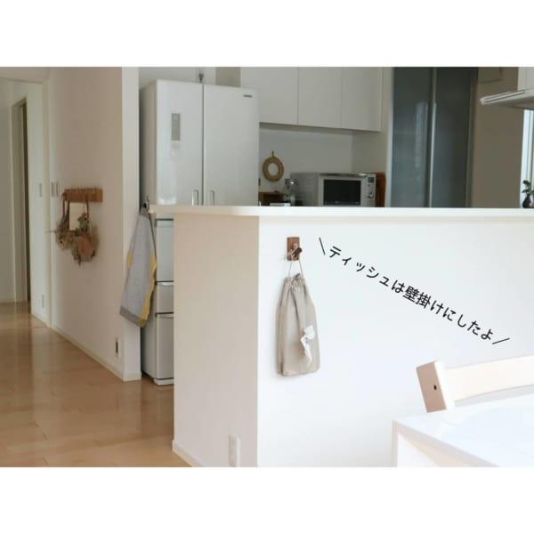 壁に付けられる家具でティッシュ収納