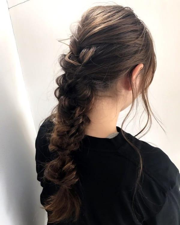 ママ向け!入園式の髪型《ロング×編みおろし》4
