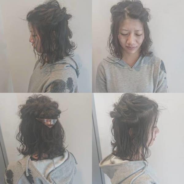 ミディアム×ハーフアップ×前髪なしヘア