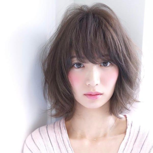 40代女性におすすめのひし形ボブヘア《前髪あり》6