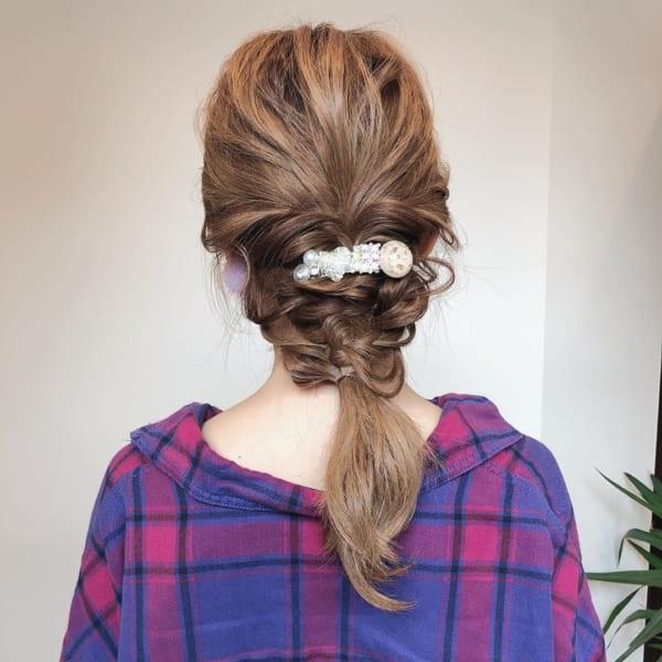 ママ向け!入園式の髪型《ロング×編みおろし》5