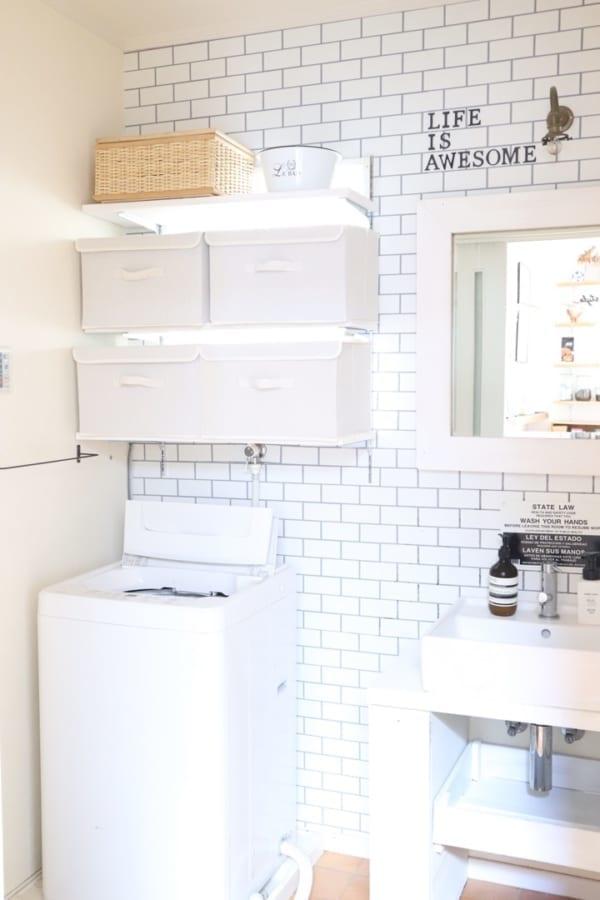 ダイソーの布製収納ボックスで洗面所のタオル収納